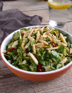 Ingredients 1 medium broccoli head 1 red chilli, sliced 2 garlic cloves, crushed 3 Tb olive oil 1.5 tsp sea salt 1 tsp white pepper ½ lemon juice and zest 3 Tb parsley leaves, sliced 3 Tb Oregano l...