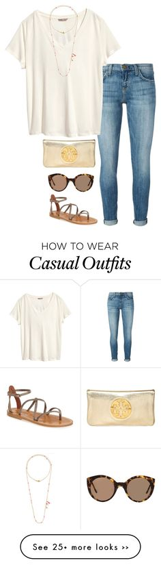 """casual day out"" by helenhudson1 on Polyvore featuring Current/Elliott, H&M, Chan Luu, Illesteva, K. Jacques and Tory Burch"