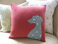 Whippet Pillow Cover French Brick Red & Modern Blue Aqua Cotton Fabric Silhouette Decorative Accent Pillow Small Greyhound 18 x 18. $34.00, via Etsy.