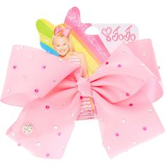 JoJo Siwa Large Rhinestone Pink Signature Hair Bow ($12) ❤ liked on Polyvore featuring accessories, hair accessories, bow hair accessories, pink hair bow, rhinestone hair bows, siwa and pink hair accessories