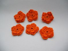 Crochet flower appliques  in orange  double by needlepointnmore, $2.50