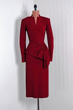 Dream 40s suit in sumptuous cranberry red