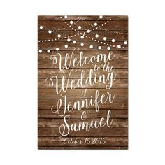 Rusitc Welcome Wedding Sign Printable Rustic Wood by ClearyLane
