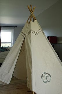 Kids teepee made from drop cloth and bamboo poles