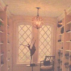 Cool closet. Pretty lighting and iron ballet figure