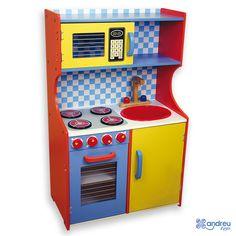 Cocina Multicolor Desmontada Andreu Toys - Ref. 16061 Estupenda cocina de diseño y colores modernos con microondas, fregadero, horno, estanterías y amplio armario para guardar un montón de cosas. Se sirve desmontada. Medidas: 62,5 x 37,5 x 100 cm