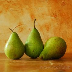 Printable pear still life photographic print - wall art country style green warm yellow  kitchen food art. $10.00, via Etsy.
