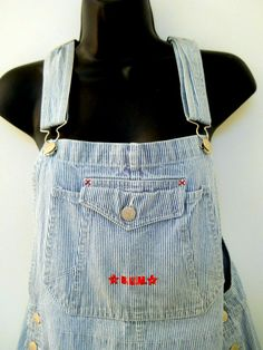 Womens Med. Bum Bib Denim Overall Stripe  White Blue Shorts Side Buttons Pockets