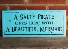 Wood Sign A Salty Pirate Beautiful Mermaid Beach Plaque Wall Decor Coastal Decor…