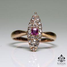 Antique Victorian 18 K Gold Diamond & Ruby Ring