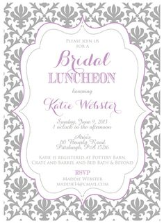 Printable Purple and Grey Bridal Shower or Luncheon by Oohlalovely, $15.00