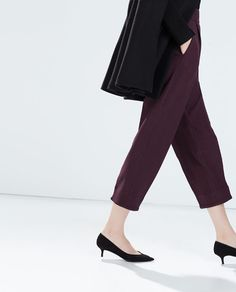 HIGH WAISTED WIDE CROPPED TROUSERS from Zara