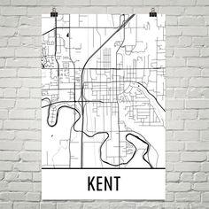 Kent Map Art Print, Kent OH Art Poster, Kent Wall Art, Kent Gift, Birthday, Decor, Modern, Art