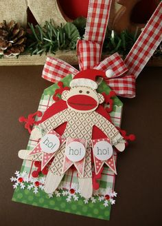 Sock Monkey Tag or Tag Christmas Ornie By Cathy Weber Christmas Gift Tags, Christmas Paper, All Things Christmas, Christmas Holidays, Christmas Ornaments, Christmas Ideas, Merry Christmas, Christmas Sock, Winter Holiday