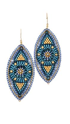 Miguel Ases Beaded Oval Drop Earrings- Wore these or a variation of at my wedding. Great to wear afterwards with everything! Seed Bead Earrings, Beaded Earrings, Earrings Handmade, Crochet Earrings, Beaded Jewelry, Handmade Jewelry, Drop Earrings, Seed Beads, Beading Tutorials