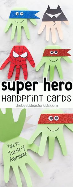 This Super Hero craft is easy and so fun to make! Make Spiderman, Batman, Ninja Turtle cards with handprints. Kids will love making these! #ArtsandCrafts