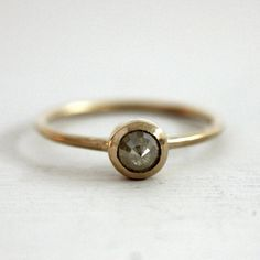 Icy yellow rose cut engagement ring by Sunday Owl on Etsy.com. #weddings
