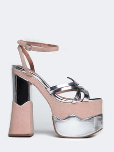 """- Brand: Jeffrey Campbell - Style: Platform Sandal - Color: Silver Mirror - Material: Leather Upper/Lining, Synthetic Sole - Heel Height: 7"""" - Platform Height: 3""""/li>"""