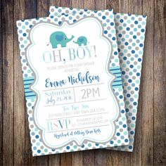 This baby shower invitation features adorable gray elephants, a playful polka dot background, and is created in shades of blue, teal and gray. Darling and sweet, this invitation is sure to impress! Like the design but wish it was for a different occasion? Not a problem! All of my designs can be customized to suit baby showers, bridal showers, birthday parties, etc... Just ask! :)  •••••••••••••••••••••••••••••••••••••••••••••••••••••••  **PLEASE NOTE** This listing is for a high resolution…