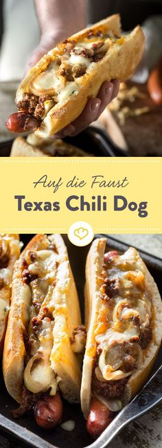 The South American star among the hot dogs is without question the Chili Dog. Fiery chili and melting cheese refine this popular US fast food.Informations About Der südamerikanische Star unter den Hot Dogs ist ohne Frage der Chili Dog. Dog Recipes, Pizza Recipes, Grilling Recipes, Cooking Recipes, Drink Recipes, Chili Recipes, Party Recipes, Burger Recipes, Fastfood Recipes