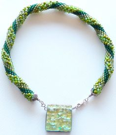 Bead crochet necklace of seed beads & hand by Romancingtheneck, $175.00