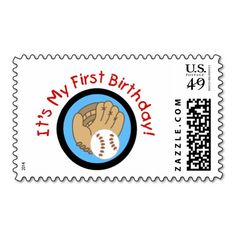 Baseball and Glove 1st Birthday Tshirts and Gifts Postage Stamp