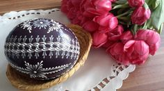 Velikonoční kraslice - tmavě fialové pštrosí