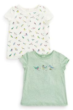 Buy Two Pack Green And Ecru Bird T-Shirts (3mths-6yrs) from the Next UK online shop