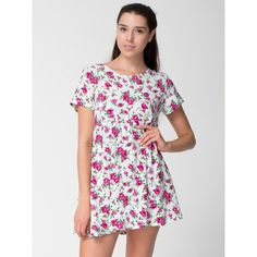 American Apparel Printed Rayon Challis Babydoll Dress ($54) ❤ liked on Polyvore featuring dresses, floral printed dress, loose fit dress, floral dress, loose fitting dresses and baby doll dress