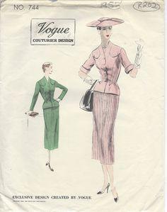 """1953 Vintage VOGUE Sewing Pattern B32"""" JACKET/BLOUSE, SUIT/DRESS (R202) #Vogue"""
