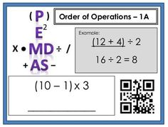 Order of Operations Differentiated Task Cards, with and without QR codes Algebra 1 Textbook, Maths Algebra, Math Tutor, Teaching Math, College Math, Math School, Math Lesson Plans, Math Lessons, Homeschool Math