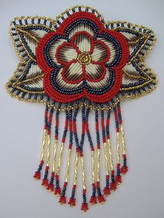 Beads & Porcupine Quills, Barrette (anyone know the name/nation of the artist? Indian Beadwork, Native Beadwork, Native American Beadwork, Native Beading Patterns, Beadwork Designs, Native American Crafts, Beaded Cross, Beading Projects, Bead Art