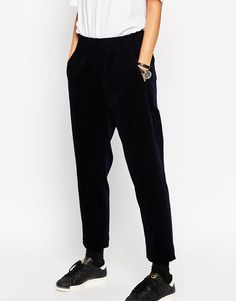 Image 1 ofASOS WHITE Tapered Trousers in Cord