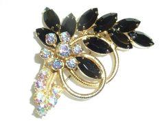 Vintage Black Marquise Aurora Borealis Chaton by labaublesandbags