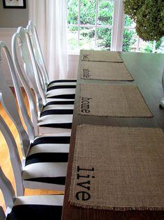 Burlap Place Mats Set of Four dwell live abode by cottageandvine