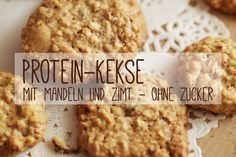 Protein biscuits with almonds and cinnamon without sugar - recipe-Protein-Kekse mit Mandeln und Zimt ohne Zucker – Rezept Do you eat low carb but don& want to do without cookies? Then try our protein biscuits with protein powder, almonds and no sugar. Low Carb Sweets, Healthy Sweets, Low Carb Desserts, Low Calorie Recipes, Healthy Snacks, Paleo Dessert, Healthy Dessert Recipes, Dinner Recipes, Recipes