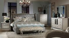 Create an atmosphere reminiscent of old Hollywood glamor with our Angelina Graphite Bedroom Collection. This collection comes complete with one King bed, one dresser and mirror combination and one nightstand that will turn your bedroom into a luxurious retreat to be enjoyed at the end of each day.