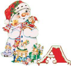 Oh my Alfabetos!: Alfabeto navideño animado de muñeco de nieve con juguetes.
