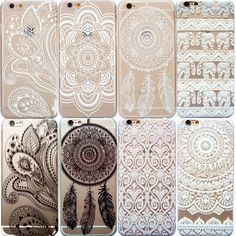 OTTER MK Tribal Lotus Henna Mandala Clear Phone Case For iPhone 5 5S 6 6 Plus #UnbrandedGeneric