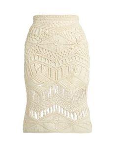Tabula Rasa Tuva hand-macramé silk and wool-blend skirt - Crochet Bodycon Dresses, Black Crochet Dress, Crochet Skirts, Macrame Patterns, Crochet Patterns, Cream Skirt, Silk Skirt, Macrame Dress, Macrame Bag