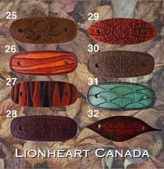 Leather Hair Barrettes by LionheartCanada on Etsy