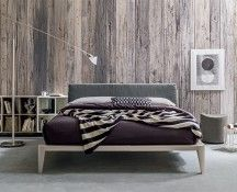 Minimalist Italian bed with padded headboard with cushions, contempora at My Italian Living Ltd Wooden King Size Bed, Bed Frame And Headboard, Wooden Bed Frames, Bedroom Furniture, Cushions, House Design, Couch, Master Bedrooms, Contemporary