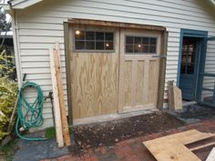 Building carriage doors from scratch - The Garage Journal Board - www. Building carriage doors from scratch - The Garage Journal Board - Carriage House Doors, Shed Homes, Garage Decor, House Exterior, Garage Doors, Garage Remodel, Diy Door, Diy Garage Door, Garage House Plans