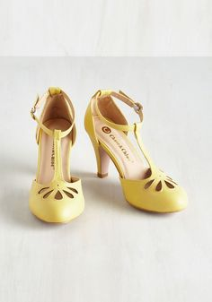 Aisle Come Running Heel in Buttercup. As the proud Maid of Honor on your besties big day, you feel radiant and ready to wow in these pastel yellow heels! #yellow #bridesmaid #modcloth