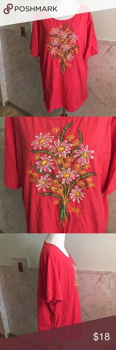 Bob Mackie Daisy Embroidered Pink Tee 2x  This is a beautiful Bob Mackie tee in a deep pink titled Daisy on the front. It features a colorful bouquet of flowers embroidered beautifully on the shirt. This is made from cotton and is comfy and stretchy like a normal tee would be. Bob Mackie Tops Tees - Short Sleeve