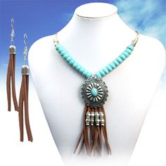 COWGIRL Bling Southwest Turquoise CONCHO Silver Fringe Western Gypsy NECKLACE #TRUE