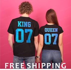 Holographic Aqua King Queen T-shirts, King 07 Queen 07 Couples T-shirt Set, King Queen Print, Custom Personalized T-shirt, Holographic Print by YourFineShops on Etsy