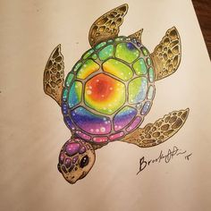 I've done it again lol but this time on paper and with my prismacolors what do y. - - I've done it again lol but this time on paper and with my prismacolors what do y. Cute Tattoos, Body Art Tattoos, Tattoo Drawings, Small Tattoos, Sea Turtle Art, Turtle Love, Turtle Beach, Turtle Tattoo Designs, Sea Turtle Tattoos