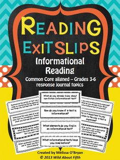 Wild about fifth grade: Using Reading Exit Slips to provide purpose & accountability during independent reading time 6th Grade Reading, 6th Grade Ela, 4th Grade Writing, Middle School Reading, Fifth Grade, Third Grade, Reading Lessons, Reading Strategies, Reading Skills