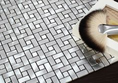 MOS2250 Mosiac Tile - Solid brushed aluminium mosaic wall tiles with glossy texture for contemporary bathroom, kitchen and featured wall by Nova Deko